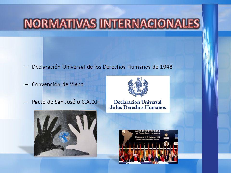– Declaración Universal de los Derechos Humanos de 1948 – Convención de Viena – Pacto de San José o C.A.D.H