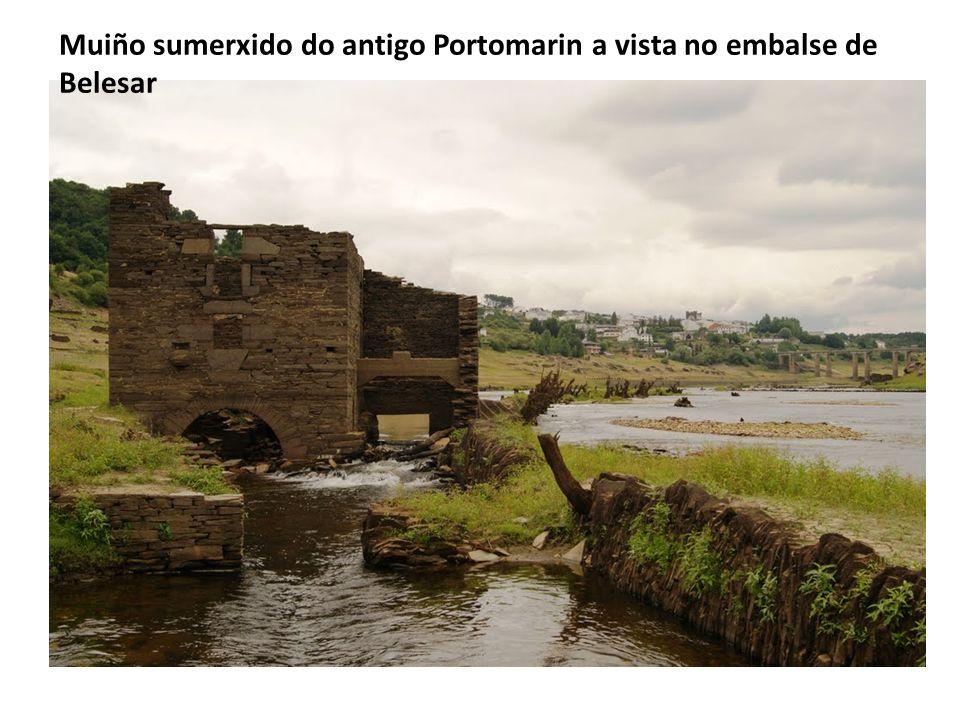 Muiño sumerxido do antigo Portomarin a vista no embalse de Belesar