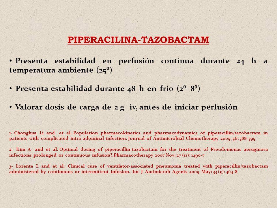 PIPERACILINA-TAZOBACTAM Presenta estabilidad en perfusión contínua durante 24 h a temperatura ambiente (25) Presenta estabilidad durante 48 h en frío