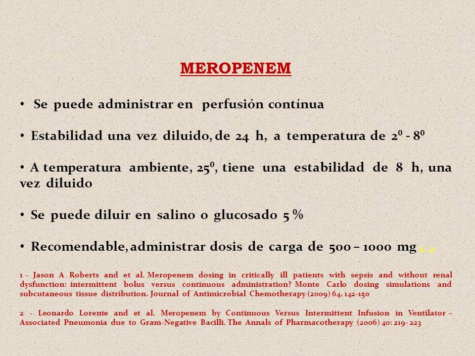 MEROPENEM Se puede administrar en perfusión contínua Estabilidad una vez diluido, de 24 h, a temperatura de 2 - 8 A temperatura ambiente, 25, tiene un