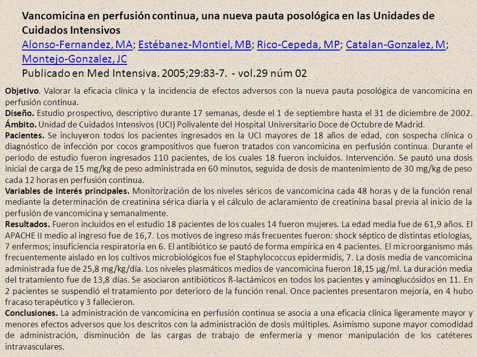 Vancomicina en perfusión continua, una nueva pauta posológica en las Unidades de Cuidados Intensivos Alonso-Fernandez, MAAlonso-Fernandez, MA; Estéban