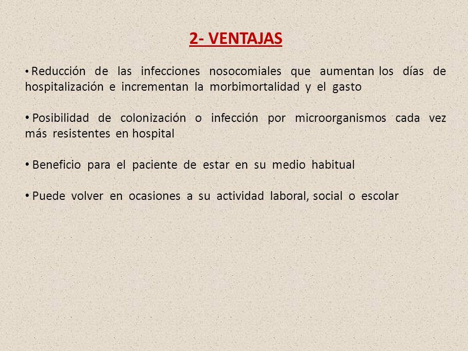 2- VENTAJAS Reducción de las infecciones nosocomiales que aumentan los días de hospitalización e incrementan la morbimortalidad y el gasto Posibilidad