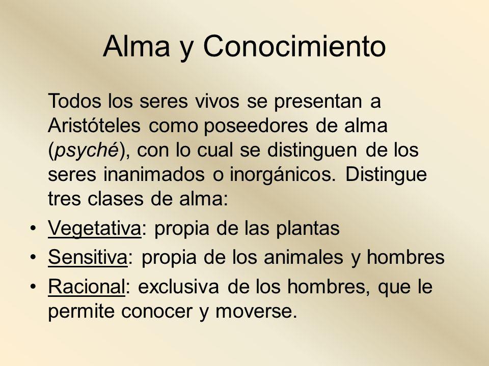 Alma y Conocimiento Todos los seres vivos se presentan a Aristóteles como poseedores de alma (psyché), con lo cual se distinguen de los seres inanimad