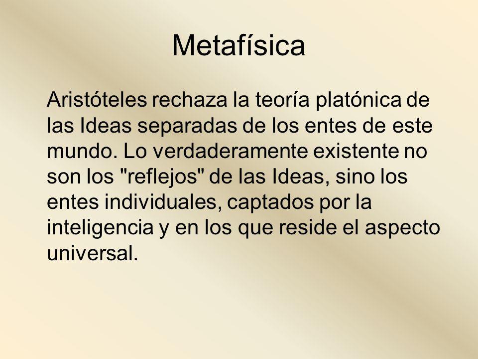 Metafísica Aristóteles rechaza la teoría platónica de las Ideas separadas de los entes de este mundo. Lo verdaderamente existente no son los