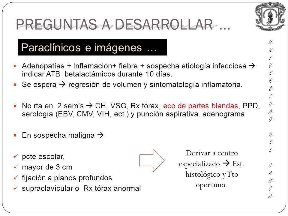 Adenopatías + Inflamación+ fiebre + sospecha etiología infecciosa indicar ATB betalactámicos durante 10 días.