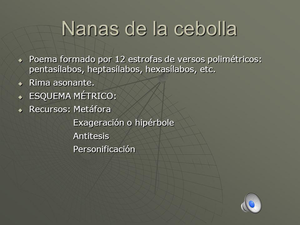 Nanas de la cebolla Poema formado por 12 estrofas de versos polimétricos: pentasílabos, heptasílabos, hexasílabos, etc. Poema formado por 12 estrofas
