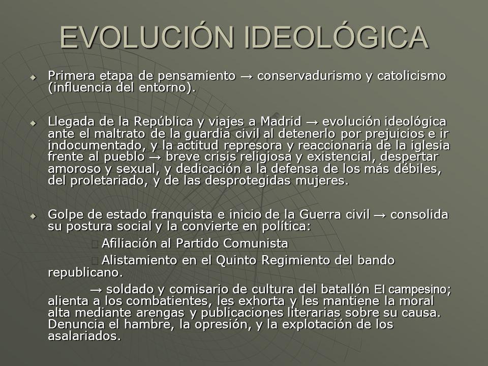 EVOLUCIÓN IDEOLÓGICA Primera etapa de pensamiento conservadurismo y catolicismo (influencia del entorno). Primera etapa de pensamiento conservadurismo