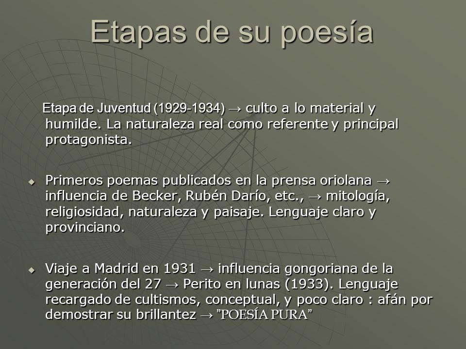 Etapas de su poesía Etapa de Juventud (1929-1934) culto a lo material y humilde. La naturaleza real como referente y principal protagonista. Etapa de