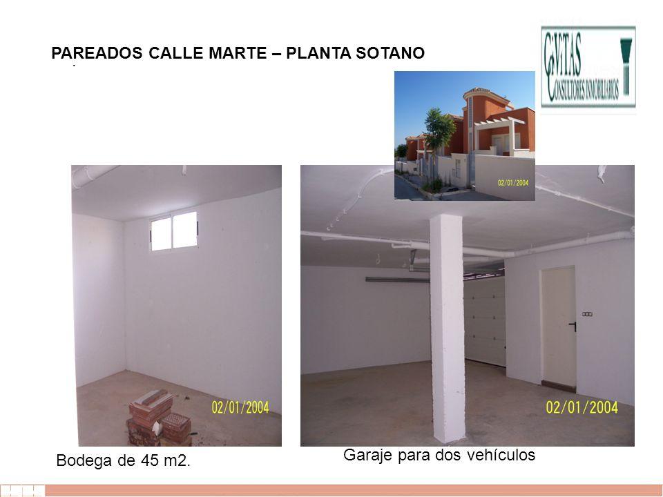 EVALUE finanzas corporativas. Garaje para dos vehículos Bodega de 45 m2. PAREADOS CALLE MARTE – PLANTA SOTANO
