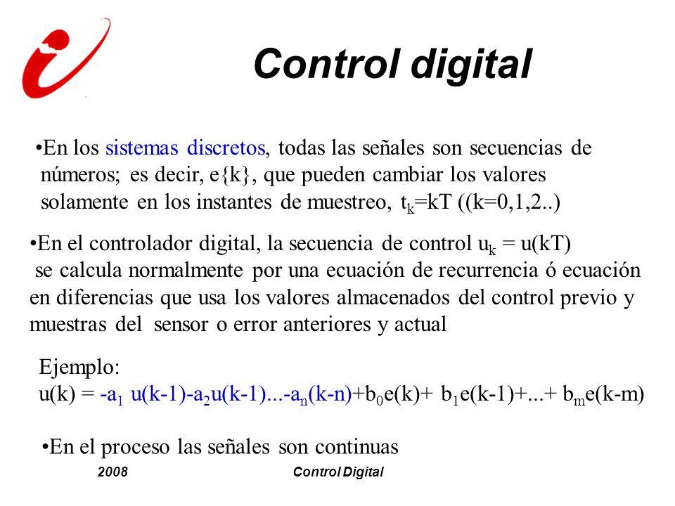 2008Control Digital Control digital En los sistemas discretos, todas las señales son secuencias de números; es decir, e{k}, que pueden cambiar los val