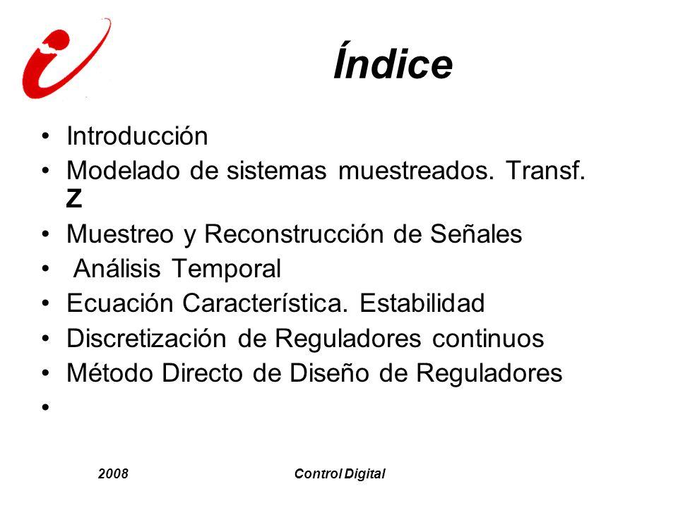 2008Control Digital Índice Introducción Modelado de sistemas muestreados. Transf. Z Muestreo y Reconstrucción de Señales Análisis Temporal Ecuación Ca