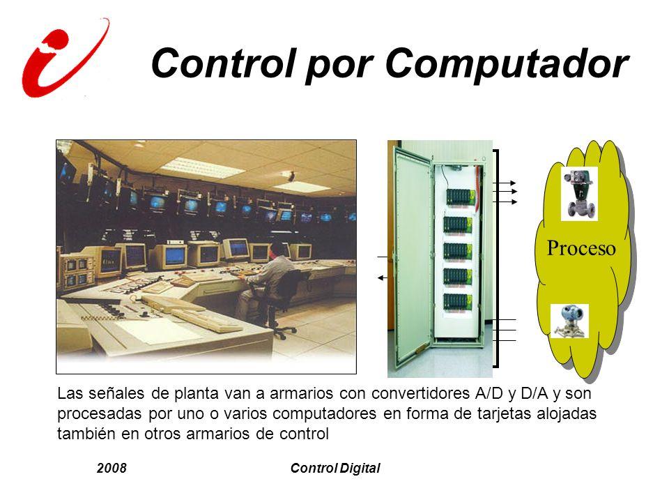 2008Control Digital Control por Computador D/A A/D Proceso P Las señales de planta van a armarios con convertidores A/D y D/A y son procesadas por uno