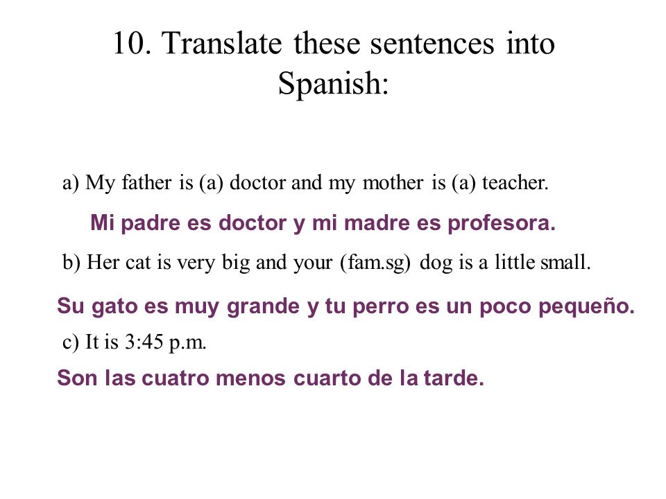 10. Translate these sentences into Spanish: a) My father is (a) doctor and my mother is (a) teacher. b) Her cat is very big and your (fam.sg) dog is a