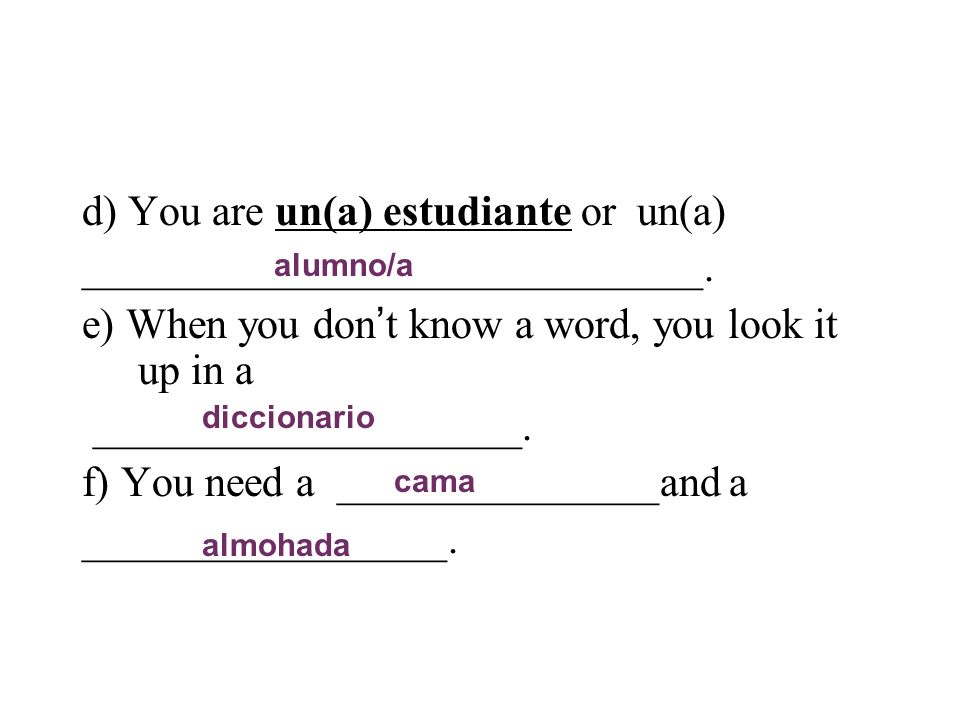 d) You are un(a) estudiante or un(a) _____________________________. e) When you don t know a word, you look it up in a ____________________. f) You ne
