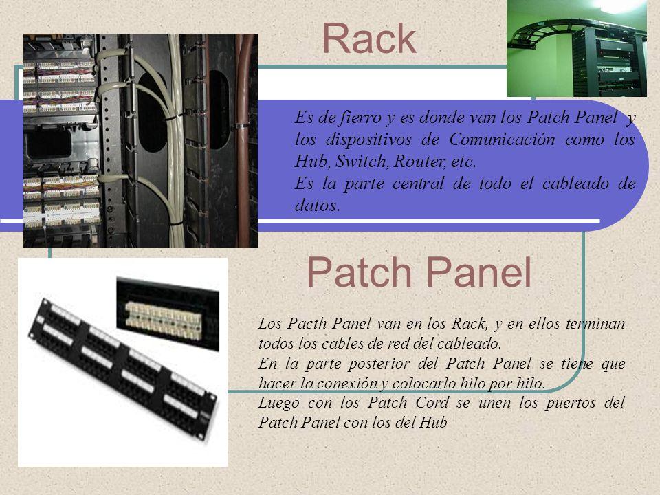 Rack Es de fierro y es donde van los Patch Panel y los dispositivos de Comunicación como los Hub, Switch, Router, etc. Es la parte central de todo el