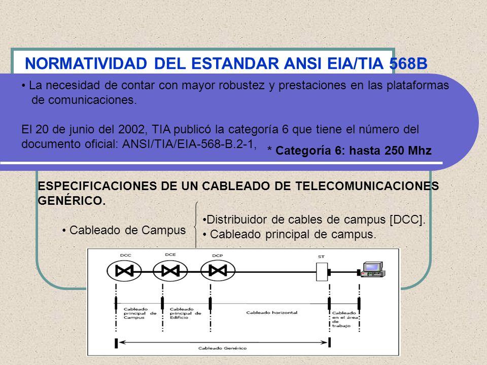NORMATIVIDAD DEL ESTANDAR ANSI EIA/TIA 568B Cableado principal de edificio Este cableado se extiende desde los distribuidores de cables de edificio (DCE´s) hasta los distribuidores de cables de piso (DCP´s), e incluye los cables principales de edificio, la terminación mecánica de estos cables en ambos extremos (DCE´s y DCP´s), y las conexiones de cruce e interconexión en el distribuidor de cables de edificio.