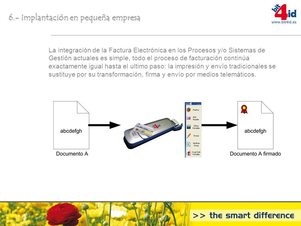 6.- Implantación en pequeñaempresa 6.- Implantación en pequeña empresa La integración de la Factura Electrónica en los Procesos y/o Sistemas de Gestió
