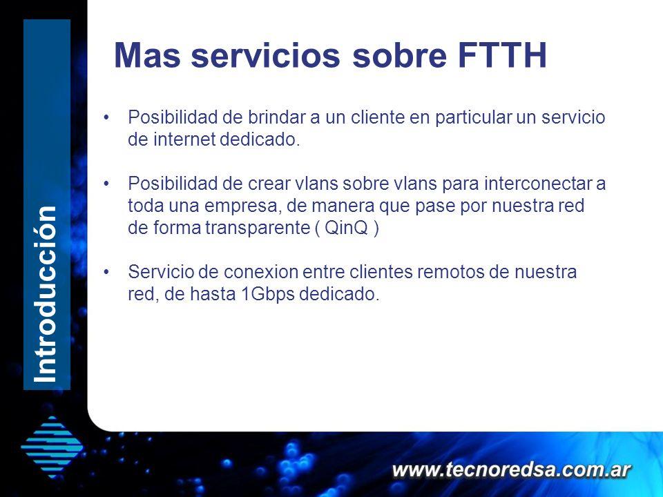 Mas servicios sobre FTTH Posibilidad de brindar a un cliente en particular un servicio de internet dedicado. Posibilidad de crear vlans sobre vlans pa