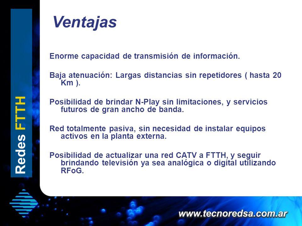 Ventajas Hola que tal Enorme capacidad de transmisión de información. Baja atenuación: Largas distancias sin repetidores ( hasta 20 Km ). Posibilidad