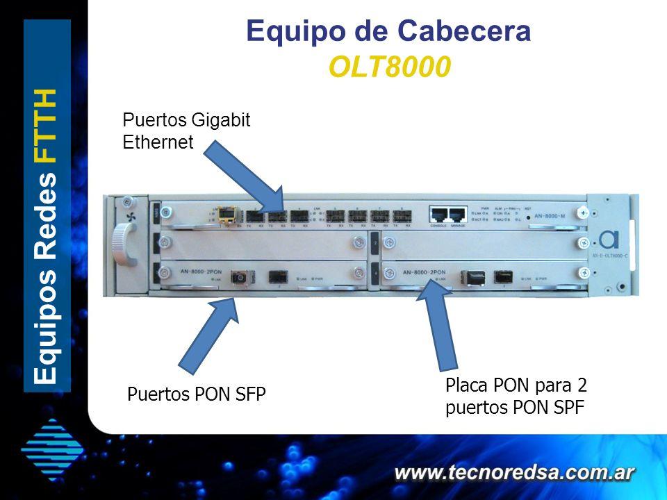 Equipo de Cabecera OLT8000 Equipos Redes FTTH Puertos Gigabit Ethernet Placa PON para 2 puertos PON SPF Puertos PON SFP