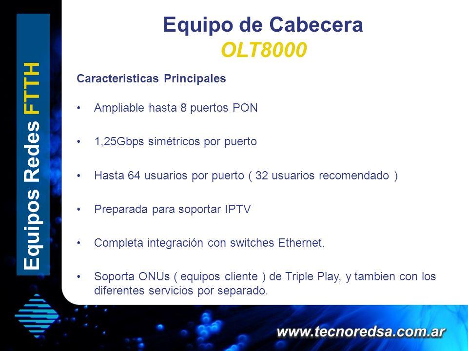 Equipo de Cabecera OLT8000 Ampliable hasta 8 puertos PON 1,25Gbps simétricos por puerto Hasta 64 usuarios por puerto ( 32 usuarios recomendado ) Prepa