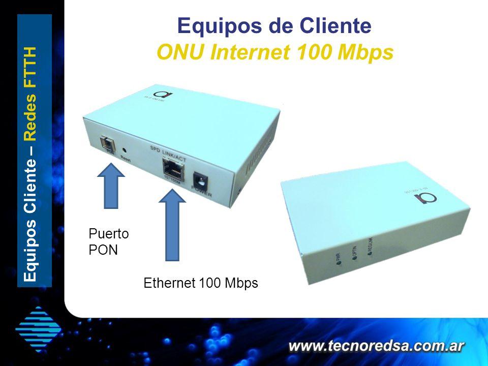 Equipos de Cliente ONU Internet 100 Mbps Equipos Cliente – Redes FTTH Ethernet 100 Mbps Puerto PON