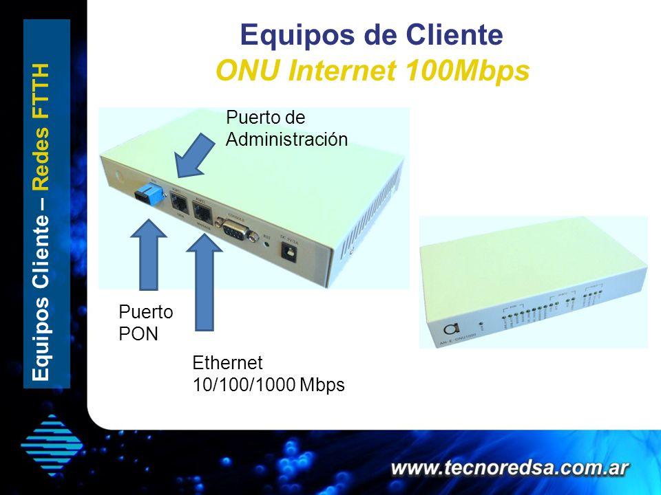 Equipos de Cliente ONU Internet 100Mbps Ethernet 10/100/1000 Mbps Puerto PON Puerto de Administración Equipos Cliente – Redes FTTH