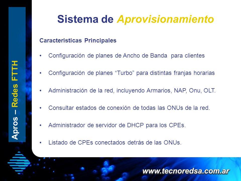 Sistema de Aprovisionamiento Apros – Redes FTTH Configuración de planes de Ancho de Banda para clientes Configuración de planes Turbo para distintas f