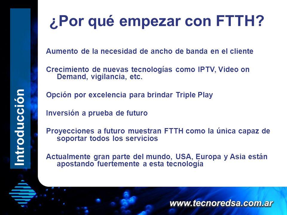 ¿Por qué empezar con FTTH? Hola que tal Introducción Aumento de la necesidad de ancho de banda en el cliente Crecimiento de nuevas tecnologías como IP