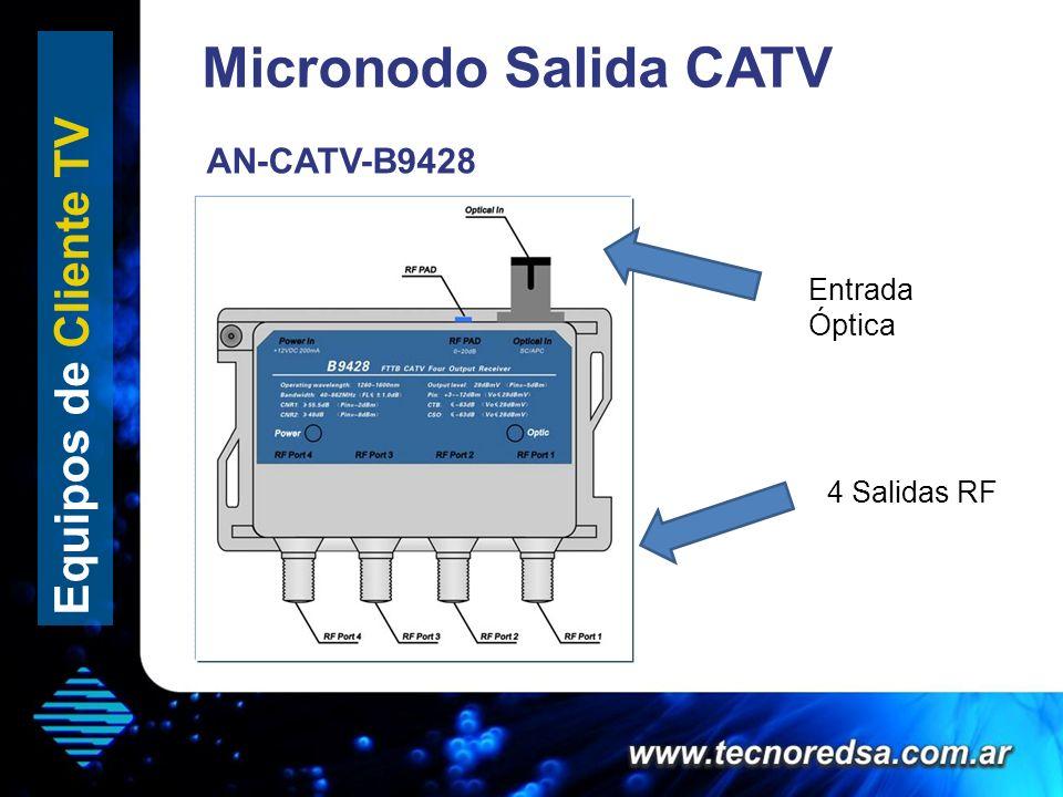 Micronodo Salida CATV Equipos de Cliente TV 4 Salidas RF Entrada Óptica AN-CATV-B9428