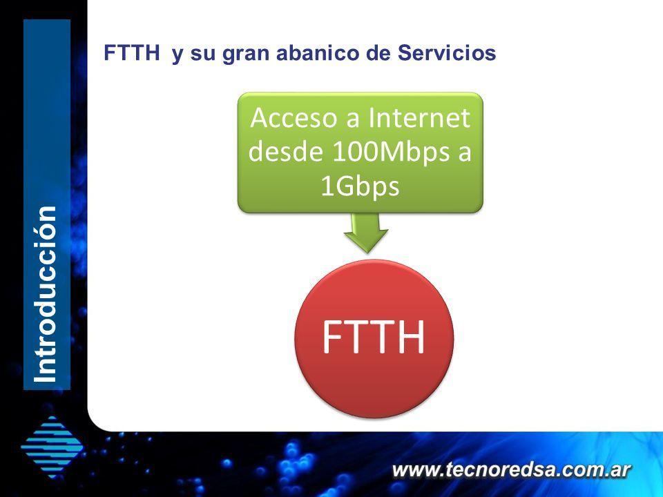FTTH y su gran abanico de Servicios FTTH Acceso a Internet desde 100Mbps a 1Gbps Introducción