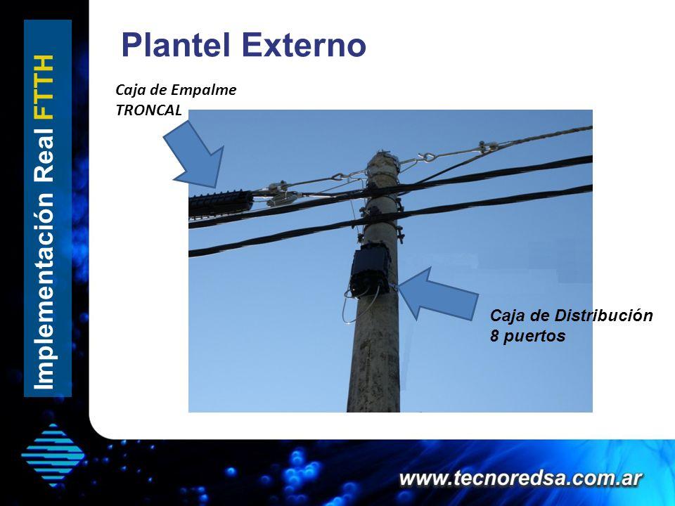 Plantel Externo Implementación Real FTTH Caja de Distribución 8 puertos Caja de Empalme TRONCAL