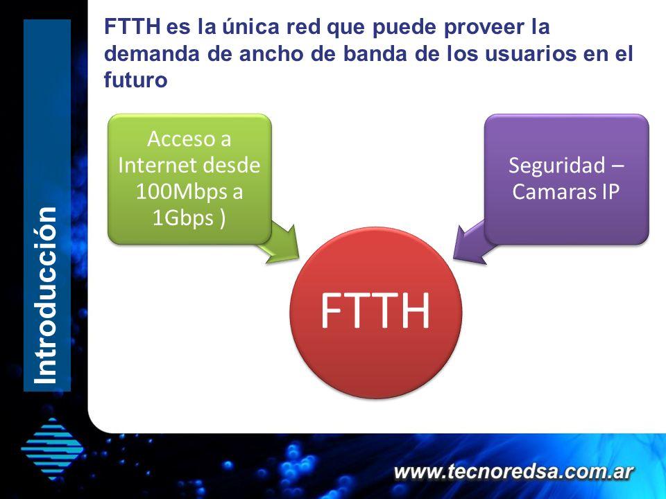 FTTH es la única red que puede proveer la demanda de ancho de banda de los usuarios en el futuro FTTH Acceso a Internet desde 100Mbps a 1Gbps Juegos sobre Internet ( Xbox, Playstation, Juegos online ) Seguridad – Camaras IP Introducción