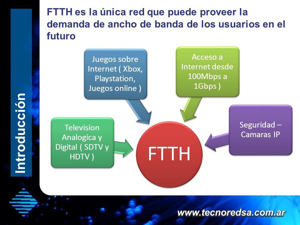 FTTH es la única red que puede proveer la demanda de ancho de banda de los usuarios en el futuro FTTH Acceso a Internet desde 100Mbps a 1Gbps ) Televi