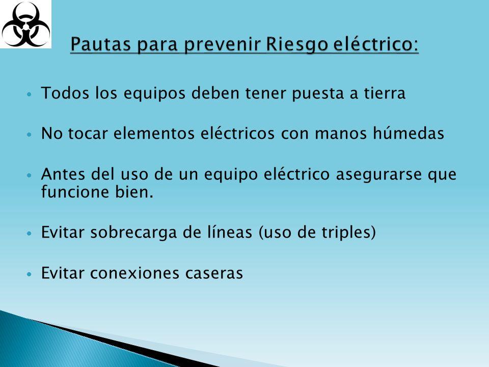 Todos los equipos deben tener puesta a tierra No tocar elementos eléctricos con manos húmedas Antes del uso de un equipo eléctrico asegurarse que func