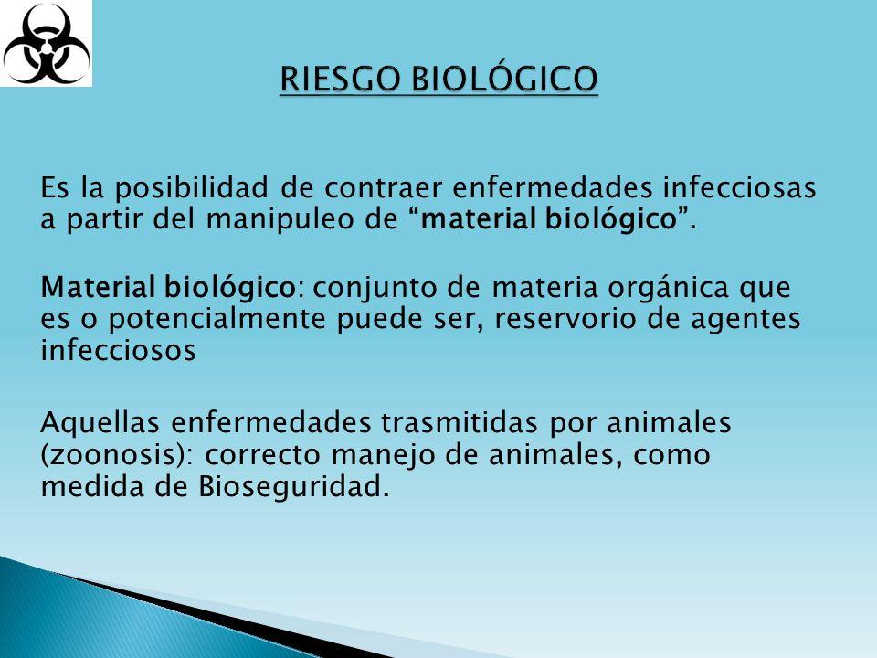 Es la posibilidad de contraer enfermedades infecciosas a partir del manipuleo de material biológico. Material biológico: conjunto de materia orgánica