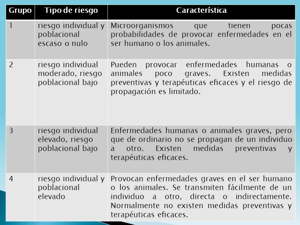 GrupoTipo de riesgoCaracterística 1riesgo individual y poblacional escaso o nulo Microorganismos que tienen pocas probabilidades de provocar enfermeda
