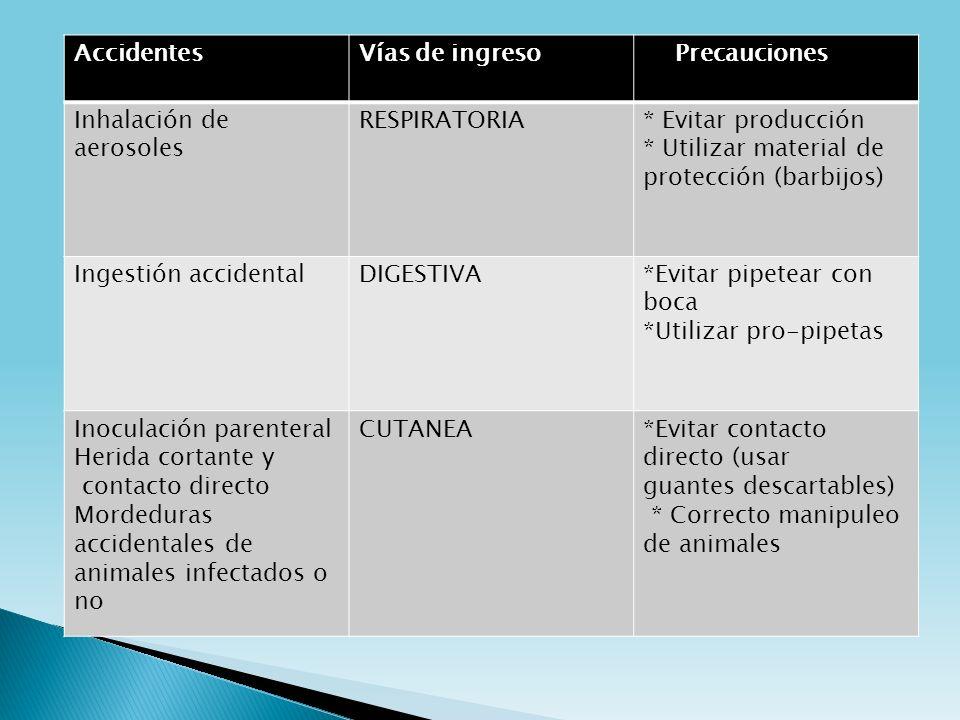 AccidentesVías de ingreso Precauciones Inhalación de aerosoles RESPIRATORIA* Evitar producción * Utilizar material de protección (barbijos) Ingestión