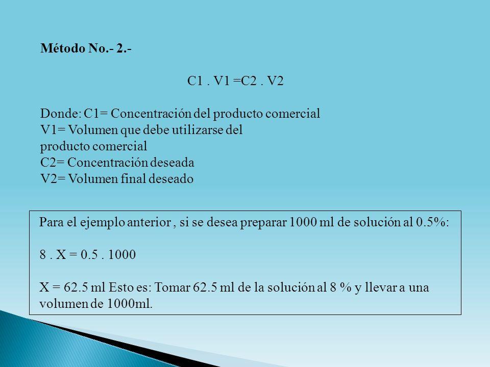 Para el ejemplo anterior, si se desea preparar 1000 ml de solución al 0.5%: 8. X = 0.5. 1000 X = 62.5 ml Esto es: Tomar 62.5 ml de la solución al 8 %