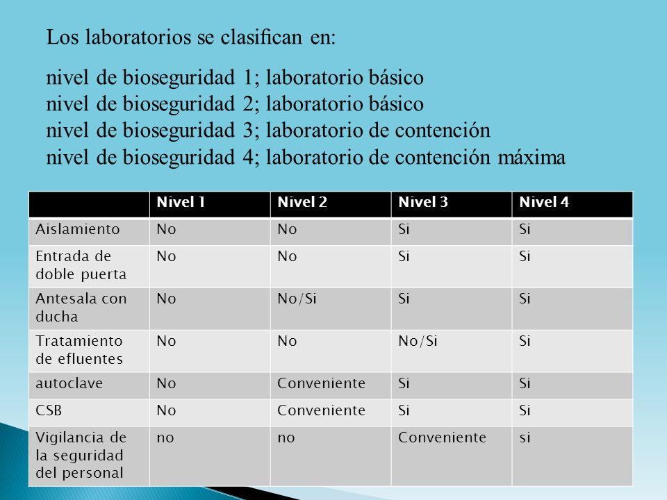 Los laboratorios se clasican en: nivel de bioseguridad 1; laboratorio básico nivel de bioseguridad 2; laboratorio básico nivel de bioseguridad 3; labo
