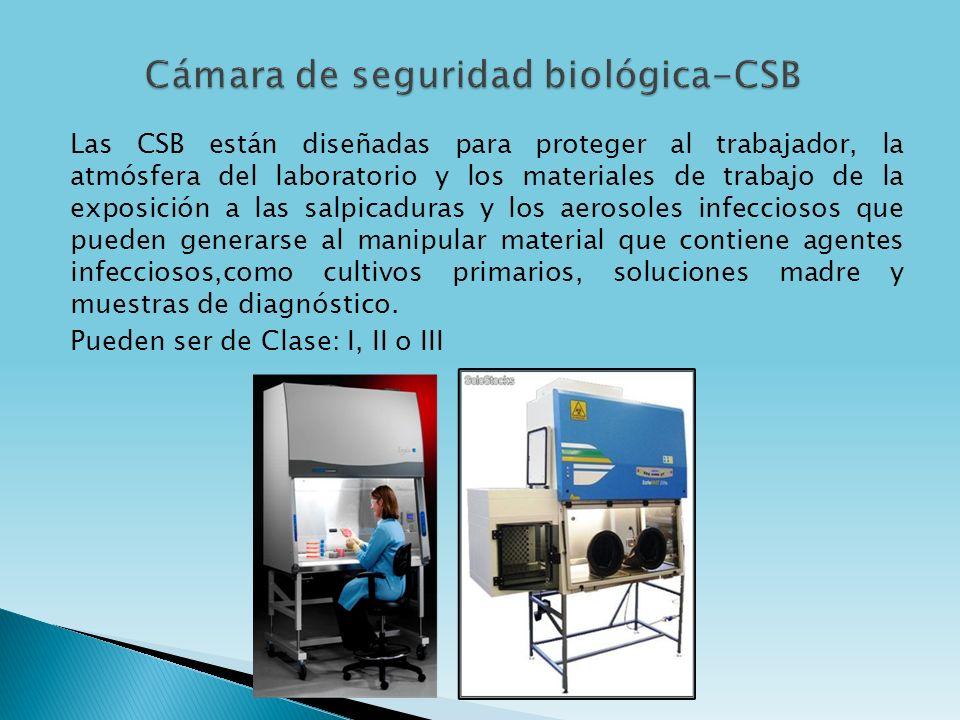 Las CSB están diseñadas para proteger al trabajador, la atmósfera del laboratorio y los materiales de trabajo de la exposición a las salpicaduras y lo
