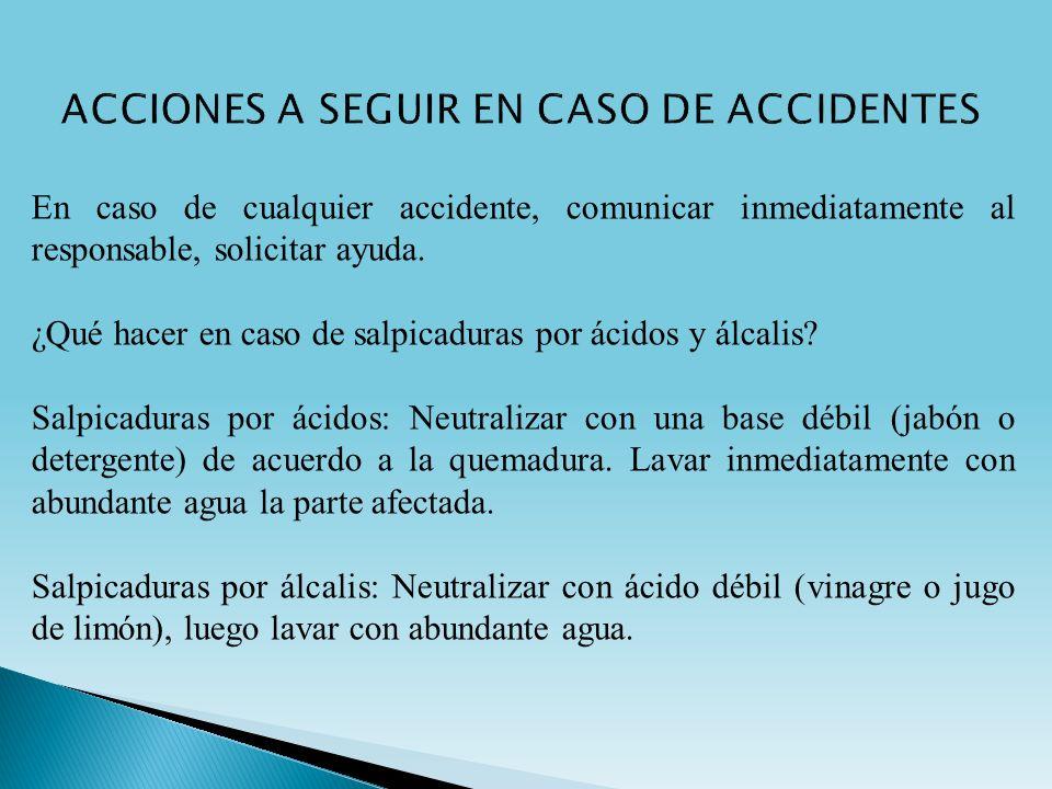 En caso de cualquier accidente, comunicar inmediatamente al responsable, solicitar ayuda. ¿Qué hacer en caso de salpicaduras por ácidos y álcalis? Sal