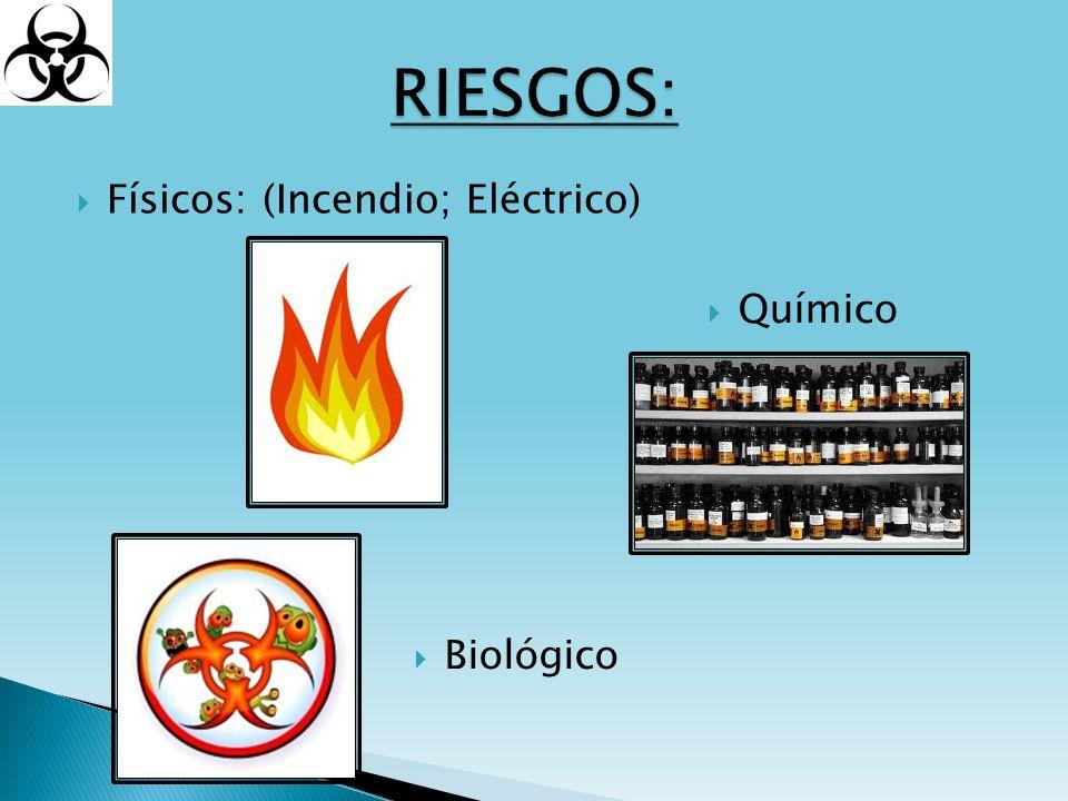 Riesgo de Incendio por: Instalaciones y aparatos eléctricos Almacenamiento de líquidos inflamables Gases inflamables comprimidos Material de plástico (fácilmente combustible, productor de grandes cantidades de humo y gases tóxicos)
