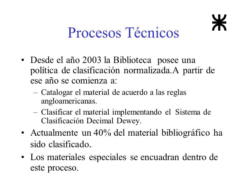 Procesos Técnicos Desde el año 2003 la Biblioteca posee una política de clasificación normalizada.A partir de ese año se comienza a: –Catalogar el mat