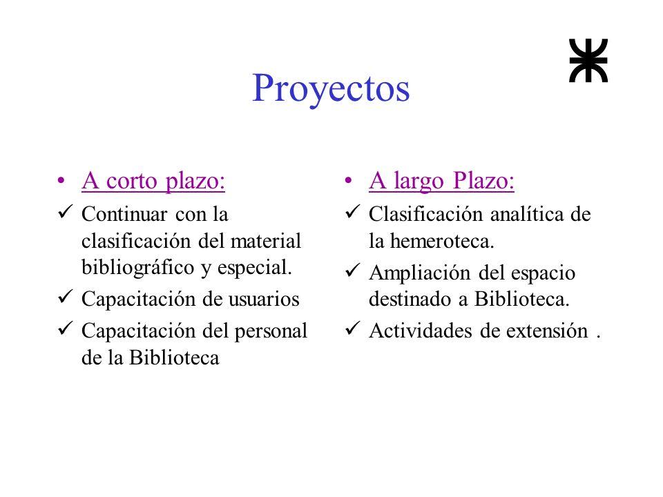 Proyectos A corto plazo: Continuar con la clasificación del material bibliográfico y especial. Capacitación de usuarios Capacitación del personal de l