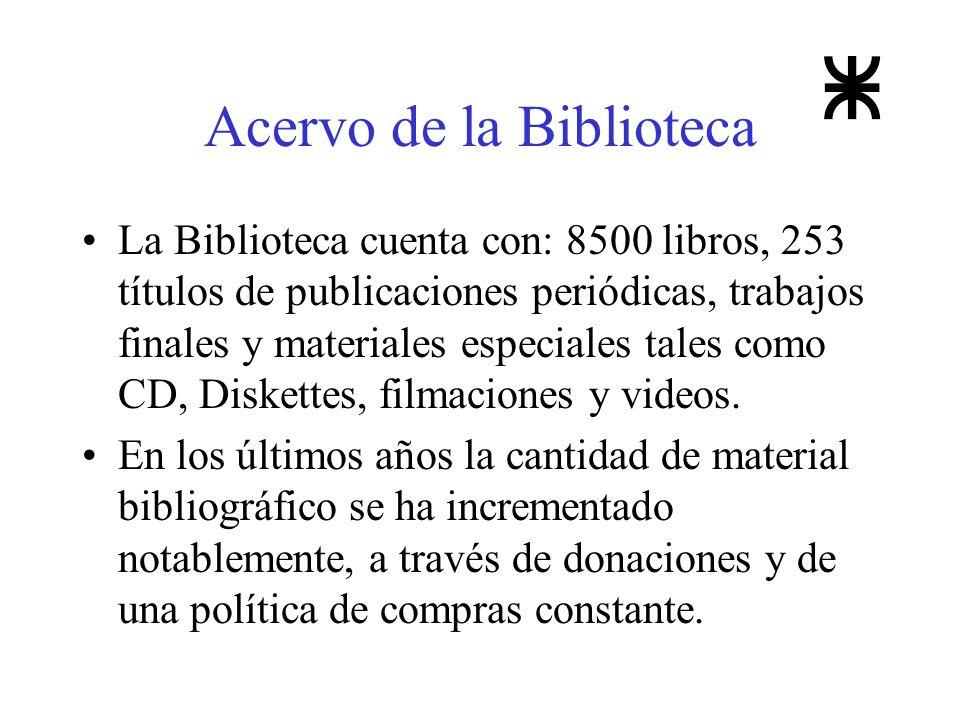 Acervo de la Biblioteca La Biblioteca cuenta con: 8500 libros, 253 títulos de publicaciones periódicas, trabajos finales y materiales especiales tales