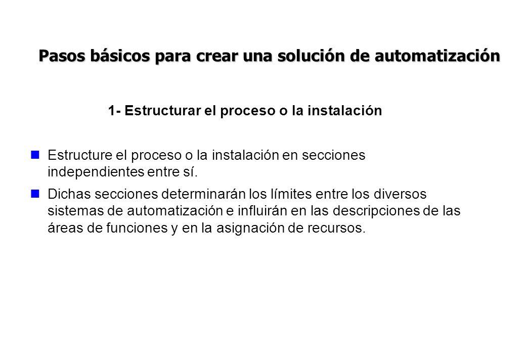 1- Estructurar el proceso o la instalación Estructure el proceso o la instalación en secciones independientes entre sí. Dichas secciones determinarán