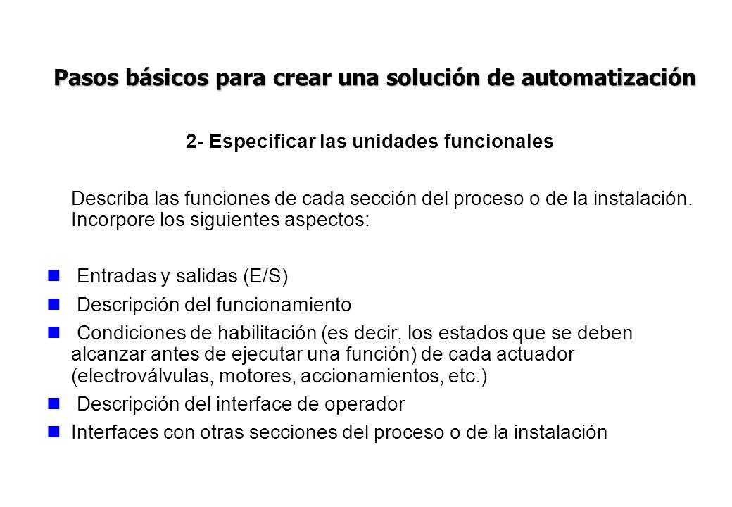 2- Especificar las unidades funcionales Describa las funciones de cada sección del proceso o de la instalación. Incorpore los siguientes aspectos: Ent