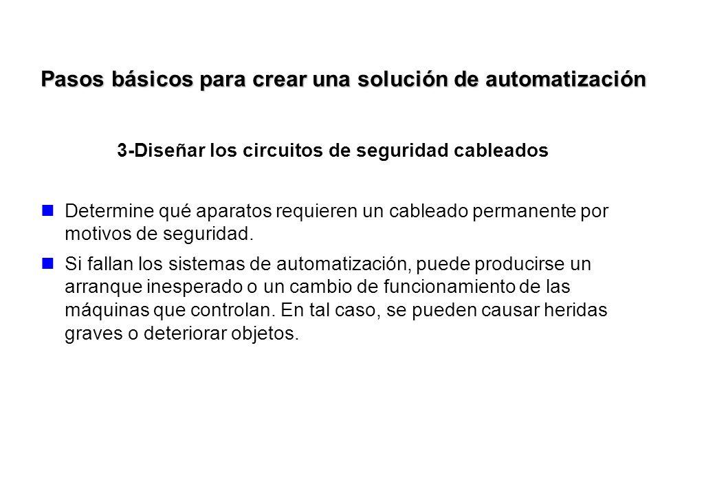 3-Diseñar los circuitos de seguridad cableados Determine qué aparatos requieren un cableado permanente por motivos de seguridad. Si fallan los sistema