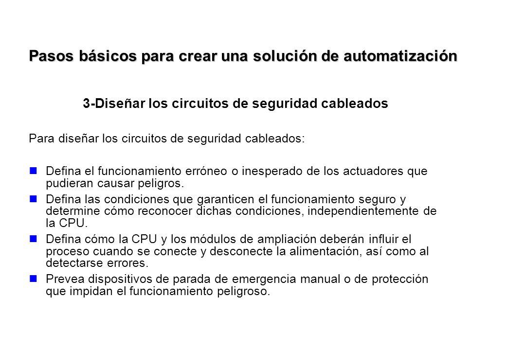 3-Diseñar los circuitos de seguridad cableados Para diseñar los circuitos de seguridad cableados: Defina el funcionamiento erróneo o inesperado de los